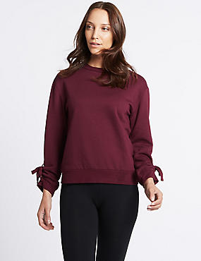 Tie Cuff Round Neck Long Sleeve Sweatshirt