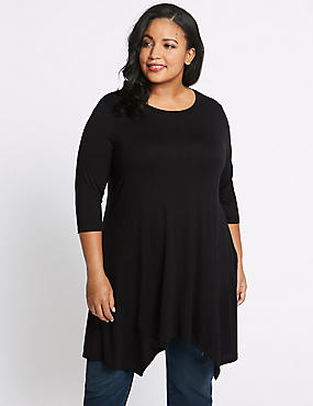 CURVE Round Neck ¾ Sleeve Tunic, BLACK, catlanding