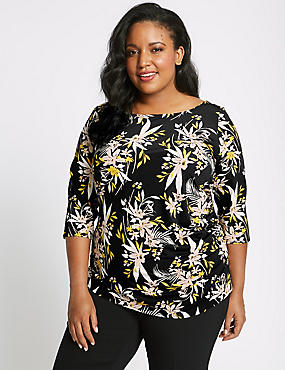 CURVE Floral Print ¾ Sleeve T-Shirt