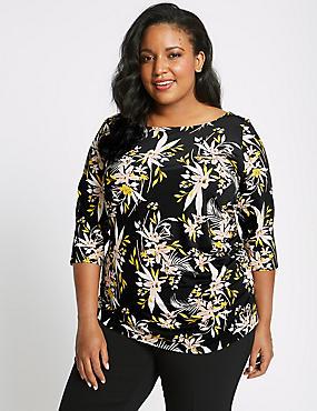 CURVE Floral Print ¾ Sleeve T-Shirt, BLACK MIX, catlanding