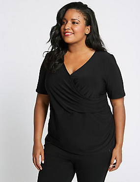 CURVE Short Sleeve Wrap Top, BLACK, catlanding