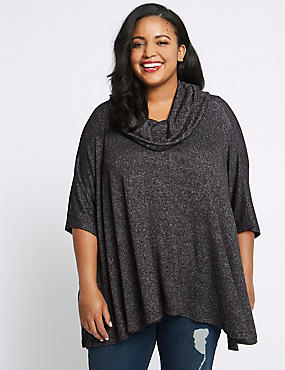CURVE Textured Curve 3/4 Sleeve Poncho