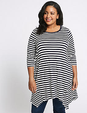 CURVE Striped Longline ¾ Sleeve Tunic, NAVY MIX, catlanding