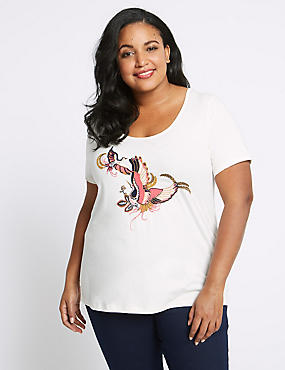 CURVE Pure Cotton Embroidered T-Shirt