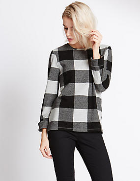 Long Sleeve Checked Sweatshirt