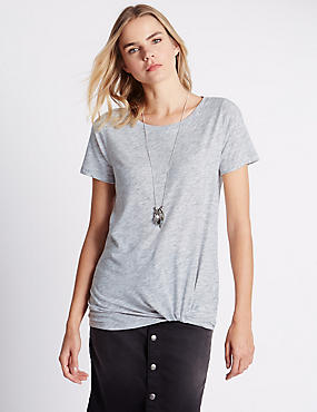 Loose Fit Twisted Drape Front T-Shirt