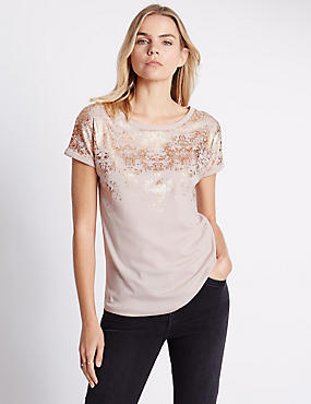 Relaxed Fit Foil Print Top