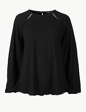 Round Neck Long Sleeve Blouse, BLACK, catlanding