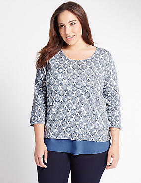 PLUS Pure Cotton Geometric Print Top