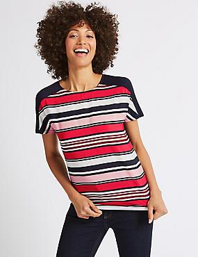Striped Round Neck Short Sleeve T-Shirt , PINK MIX, catlanding