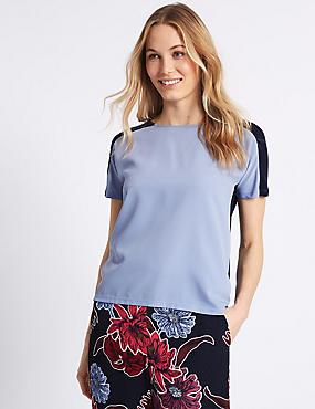 Round Neck Short Sleeve T-Shirt , BLUE, catlanding