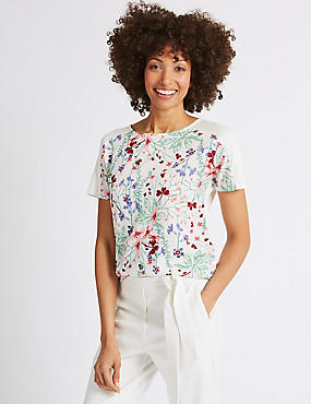 Floral Print Short Sleeve T-Shirt , MULTI, catlanding