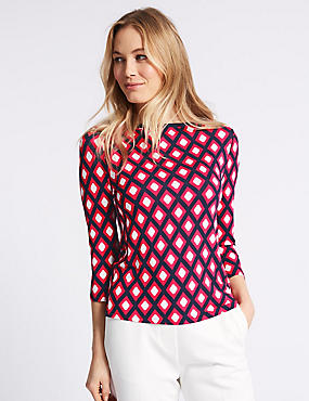 Geometric Print Slash Neck 3/4 Sleeve T-Shirt , PINK MIX, catlanding