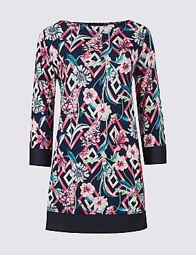 Floral Print Round Neck 3/4 Sleeve Tunic , BLACK MIX, catlanding