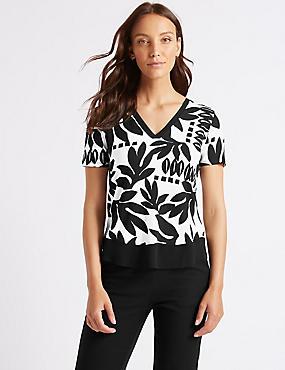 Printed V-Neck Short Sleeve Top , BLACK MIX, catlanding