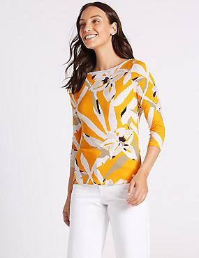 Floral Print Slash Neck 3/4 Sleeve Top , YELLOW MIX, catlanding
