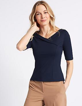 Fold Front V-Neck Short Sleeve Top , NAVY, catlanding