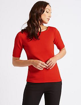 Textured Square Neck Half Sleeve Top, RED, catlanding