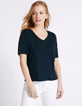 PETITE Modal Rich Short Sleeve T-Shirt , NAVY, catlanding