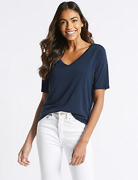 Modal Rich V-Neck Short Sleeve T-Shirt  , NAVY, catlanding