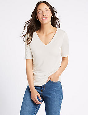 Modal Rich V-Neck Short Sleeve T-Shirt  , IVORY, catlanding