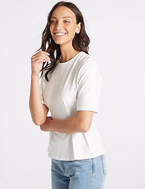 Pure Cotton Round Neck Short Sleeve Top , IVORY, catlanding