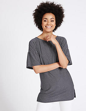 Striped Longline Half Sleeve Tunic