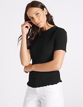Textured Round Neck Short Sleeve Top , BLACK, catlanding