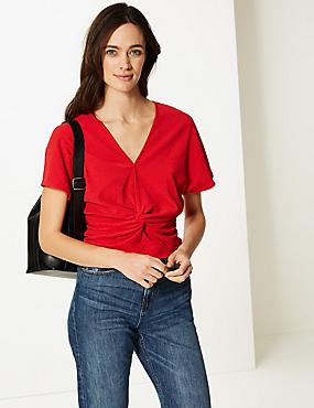 Textured V-Neck Short Sleeve Top, RED, catlanding
