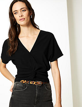 Textured V-Neck Short Sleeve Top, BLACK, catlanding