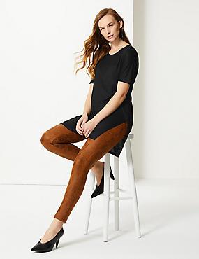 Round Neck Longline Short Sleeve Top, BLACK, catlanding