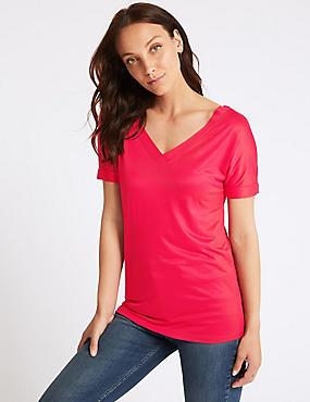 V-Neck Short Sleeve Mercerised T-Shirt, PINK, catlanding