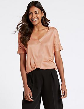 V-Neck Short Sleeve Mercerised T-Shirt, TERRACOTTA, catlanding