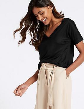 V-Neck Short Sleeve Mercerised T-Shirt, BLACK, catlanding