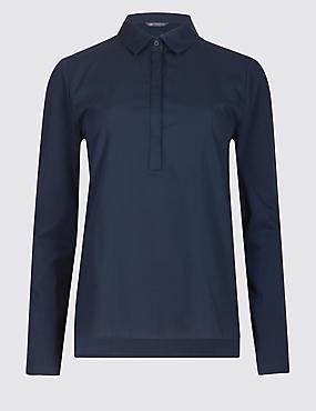 Pure Cotton Long Sleeve Shirt , NAVY, catlanding