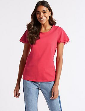 Pure Cotton Flutter Sleeve T-Shirt , PINK, catlanding