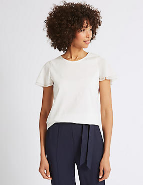 Pure Cotton Flutter Sleeve T-Shirt , IVORY, catlanding