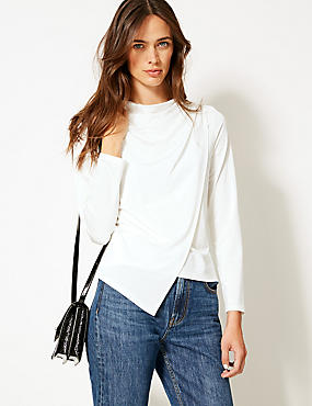 Wrap Round Neck Long Sleeve Top , IVORY, catlanding
