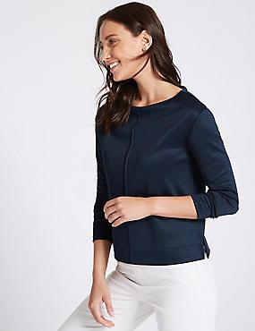 Cotton Blend Slash Neck Long Sleeve Top , NAVY, catlanding