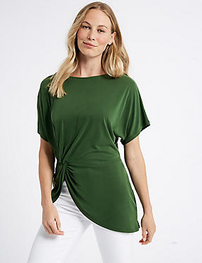Modal Rich Side Knot Short Sleeve Top, GREEN, catlanding
