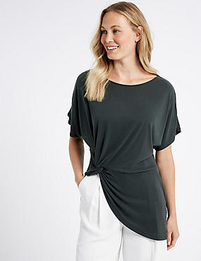 Modal Rich Side Knot Short Sleeve Top, CHARCOAL, catlanding