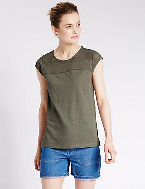 Loose Fit Lace Yoke T-Shirt