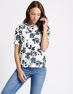 Floral Textured Short Sleeve Top