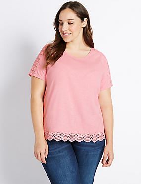 PLUS Pure Cotton Lace Trim T-Shirt
