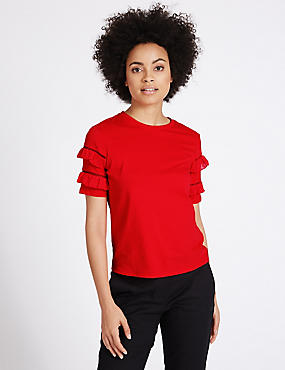 Pure Cotton Ruffle Short Sleeve T-Shirt