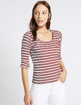 Pure Cotton Striped Flute Sleeve T-Shirt