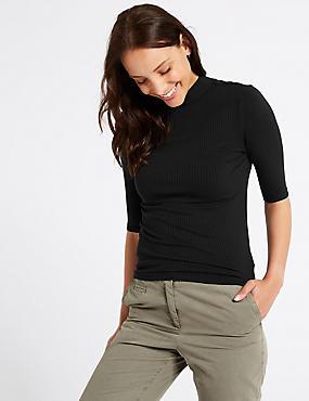 Textured Funnel Neck Half Sleeve T-Shirt , BLACK, catlanding