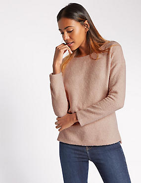 Loose Fit Long Sleeve Textured Sweat Top
