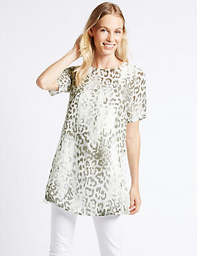 Animal Print Overlay Half Sleeve Tunic