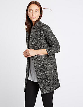 Oversized Textured Long Line Cardigan